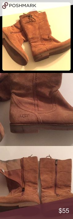 Ugg Australia Zip Up Boots with Lace Up Detail