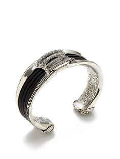 White Sapphire, Black Leather, & Silver Corset Cuff Bracelet by Scott Kay at Gilt