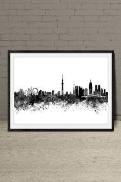 Tokyo Skyline Print Tokyo Watercolor Print by MyVisualArt on Etsy