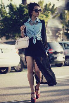 longline cardigan + denim shirt + black skirt