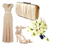 gold by jaimevd on Polyvore featuring Adrianna Papell and Gianvito Rossi