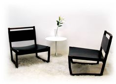 In House Furniture: Low Chair / Walnut and Leather
