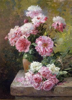 Albert Tibule Furcy de Lavault (1847 - 1915) - Roses and Peonies, Oil on canvas, 34 x 24 inches.