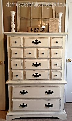 Distressed Style: Distressed Re-Do - DIY Dresser. Refinished Dresser using Old White Chalk Paint.