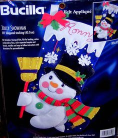 "Bucilla ""JOLLY SNOWMAN"" Felt Christmas Stocking Kit OOP Completely Sterilized"