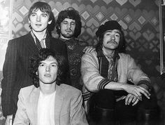 Circa 1968: British experimental psychedelic rock group Traffic, with founder-member, the young multi-instrumentalist Stevie Winwood, sitting in the foreground, with Chris Wood, Jim Capaldi and Dave Mason behind. Photo: Bob Aylott,/ Getty Images 2011