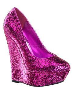 $70 Platform Hot Pink Glitter Wedge Pumps - I wish I could walk in heels