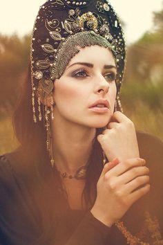 A girl in kokoshnik. Stylization. #Russian #folk #costume