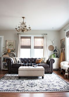 Too pale?  Leather chesterfield sofa by Raymour and Flanigan.  Rug from HomeGoods. Thoughts from Alice: Living Room Redo with a New Leather Sofa