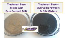 Ayurvedic deep treatment for thicker, stronger, shinier hair. This pic shows the 100% natural powders & oils alone and mixed with pure coconut milk. Contains amla, brahmi, jaswand, hemp oil, neem powder and more.