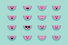 Watermelon Emojis by Kanga & Moose on @creativemarket