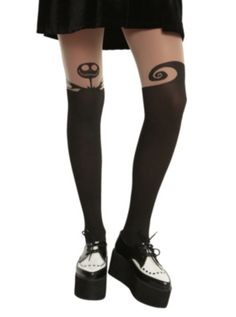 4cdbc476839 The Nightmare Before Christmas Faux Thigh High Tights Black Pantyhose