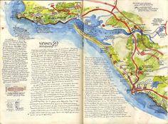 Me gusta dibujar mapas en los cuadernos de viajes.  +info