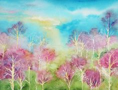 "Landscape Painting Watercolor. Title: "" Pastel Spring "" by Brenda Owen"