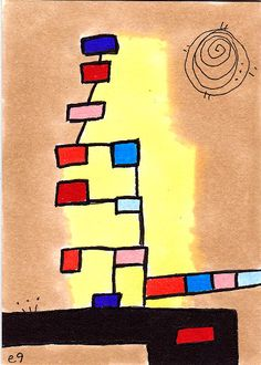 'tree of lives' e9Art ACEO Original One-of-a-Kind Abstract Mini Art Contemporary #Expressionism