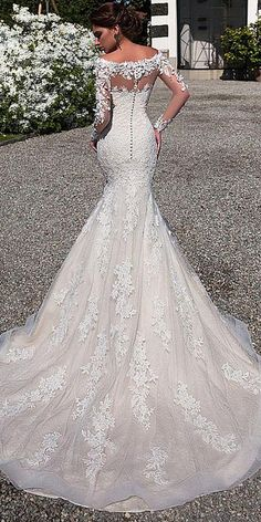 If you think a long-sleeve wedding dress is right for you, ahead, scroll through my edit of breathtaking styles of elegant lace long sleeve wedding dresses. Gorgeous Embroidered Off Shoulder Mermaid Wedding Dress Evening Dresses For Weddings, Long Wedding Dresses, Wedding Dress Styles, Bridal Dresses, Wedding Gowns, Modest Wedding, Gold Wedding, Evening Gowns, Evening Outfits