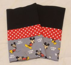 Handmade Disney Mickey Mouse Pillowcase standard/full SET by Fabricatedwithlove on Etsy