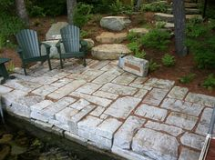 Seawall and permeable patio constructed with reclaimed granite