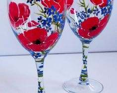 Hand Painted Poppies & Forget-Me-Not Flower Ice por PritzDesigns