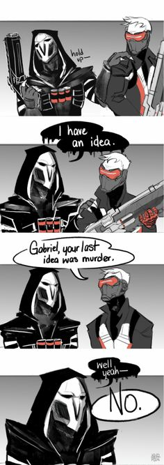 Reaper and Soldier 76 by khoren on tumblr.com