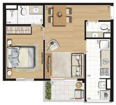 Planta ilustrada tipo de 47 m²