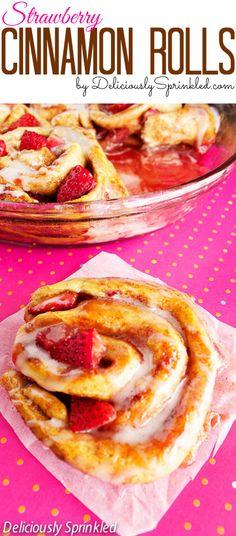 Strawberry Cinnamon Rolls #breakfastrecipe #pillsbury #strawberries #valentinesday