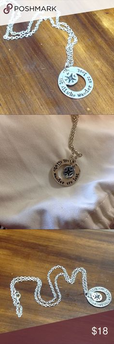 """💥SALE Wander silver compass necklace """"Not all who wander are lost"""" silver compass necklace Jewelry Necklaces"""