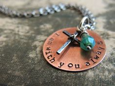 Christian Jewelry, I am with you always Necklace, Bible Verse Matthew 28:20, Cross Necklace, Scripture, Inspirational, Religious Jewelry