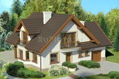 Проект уютного дома с мансардой и боковым гаражом R1488