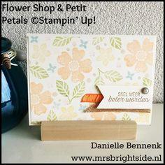 Flower Shop & Petite Petals stamps, burlap ribbon en ruched Peekaboo Peach ribbon. Create your own DSP
