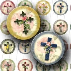 INSTANT DOWNLOAD Floral Crosses Digital Collage by greenvalley (Craft Supplies & Tools, Scrapbooking Supplies, Scrapbooking Clip Art, digital sheet, digital images, circle, round, bottle cap, bottlecap, jewelry, pendant, scrapbooking, jesus, christ, religious)