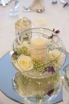 New wedding table centerpieces lights centre pieces ideas wedding centerpieces Mirror Wedding Centerpieces, Wedding Decorations, Candle Centerpieces, Anniversary Centerpieces, Centerpiece Ideas, Simple Centerpieces, Centerpiece Flowers, Girl Baptism Centerpieces, Fish Bowl Decorations