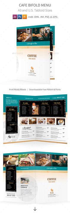 BBQ Restaurant Bifold / Halffold Menu Food menu, Print templates - half fold brochure template