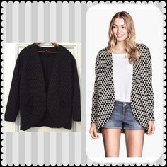 H&M Polka Dot Blazer Cozy H&M open jacquard-knit jacket/blazer. Black spots on brownish/charcoal grey background. Lined., 2 welt pockets at front, no collar. Size small, but oversized fit. H&M Jackets & Coats Blazers