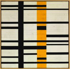 Burgoyne Diller; Untitled Third Theme (unfinished), 1950................White square. Cut and insert some strips on either side, reassemble with yellow line..............then add a black line.......