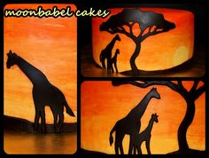 African Sunset - Gluten free vanilla cake with lemon buttercream. MMF and handpainted decoration ..M.Taylor: Very cool! I thought at first the orange pat was airbrushed,until I read it was handpainted. I might be able to do that. I experimented with a piece of fondant put in a owl candy mold and painted it with frosting coloring.What did you use for the painting part? Are the girraffe's brown fondant?