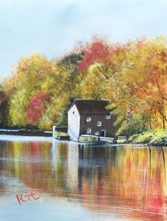 Autumn on River Wear Hanging Paintings, Artwork Display, Acrylic Art, River, Autumn, Kit, Landscape, Canvas, Gallery