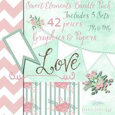 Clipart Bundle Digital Papers Embellishments 42 pcs includes 3 graphics sets by StudioJulieAnn