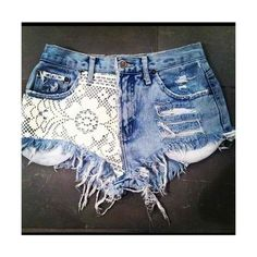 I could do that! I've really been into denim and lace shorts lately. Denim And Lace, Lace Jean Shorts, Lace Jeans, Diy Jeans, Floral Denim, Denim Skirt, Diy Shorts, Crochet Shorts, Ripped Shorts
