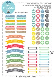 Free Printable Planner Stickers from rainytypewriter To Do Planner, Free Planner, Planner Pages, Happy Planner, Printable Planner Stickers, Calendar Stickers, Free Printables, Planner Organization, Organizer