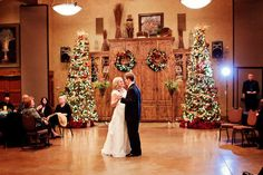 Christmas themed weddings. The first dance photo. Lots of lights and a vintage look.