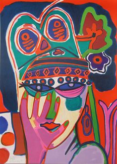 Portrait 1982 by Guillaume Corneille - Lithograph on Arches Paper Tachisme, Dutch Artists, French Artists, Abstract Faces, Abstract Art, Cobra Art, Art Brut, Outsider Art, Art Studies