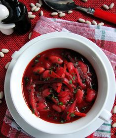 Barszcz ukraiński | Smaczna Pyza Clean Recipes, Soup Recipes, Cooking Recipes, Beet Soup, Soup And Salad, Polish Recipes, Polish Food, Vegan Vegetarian, Food And Drink