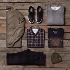 Style inspiration: checkered shirt, beanie, grey sweatshirt. black denim, tee, black sneakers, coat. Cool & relaxed vintage style   JACK & JONES #ootd #menswear #vintage #fashion #outfit