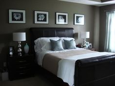 Framed pictures above bed. Like how they extend out past bed.