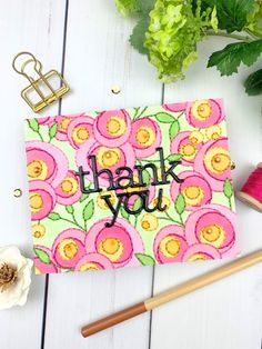 Mod Stitched Card Using Simon Says Stamp's Spring Flowers Background Stamp | stitches in paper Handmade Tags, Handmade Shop, Embroidery Cards, Card Companies, Flower Center, Heart Cards, Flower Backgrounds, Simon Says Stamp, Spring Flowers