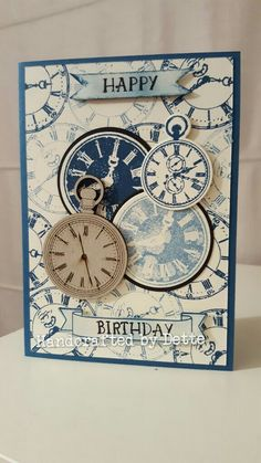Masculine birthday card. Made by Bernadette Maroun. handcrafted by dette Clocks, time, distressed, stamps, chipboard, birthday.