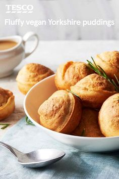 Light and fluffy, these vegan Yorkshire puddings make the ultimate accompaniment to any roast or Sunday lunch. With a completely egg-free and dairy-free batter, the puddings form a crunchy golden crust as they rise in the oven. | Tesco