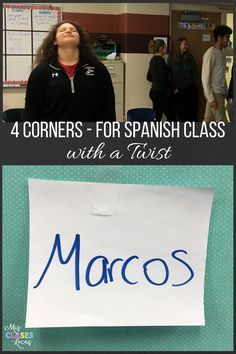 4 Corners for Spanish Class (with a Twist) - Mis Clases Locas Spanish Teaching Resources, Spanish Language Learning, Teaching Strategies, Spanish Activities, Teaching Ideas, Spanish Games, Spanish 1, Learn Spanish, Spanish Vocabulary