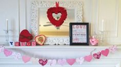 Valentine's mantel with the help of my son.